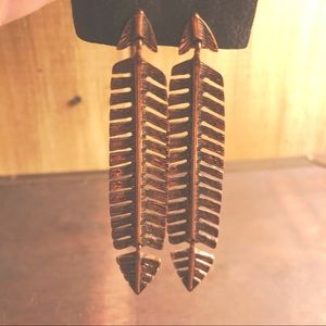 NWT Free People Feather Copper Earrings Tribal